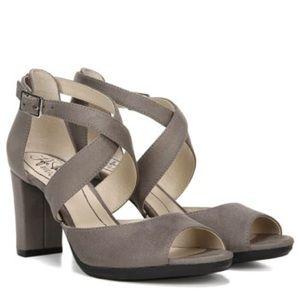 Grey/ Taupe suede heels